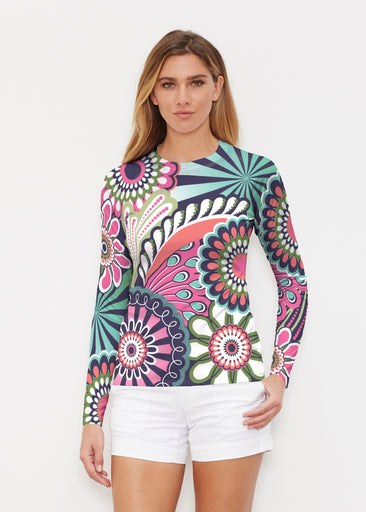 Mod Floral Splash (13323) ~ Long Sleeve Rash Guard
