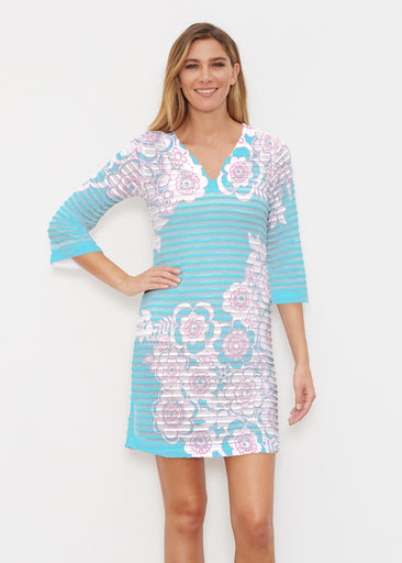 Free Floral Aqua (13438) ~ Banded 3/4 Sleeve Cover-up Dress