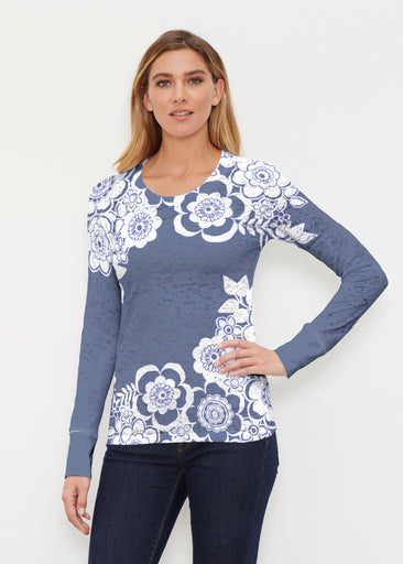 Free Floral Navy (13451) ~ Thermal Long Sleeve Crew Shirt