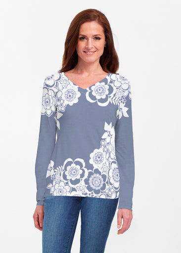 Free Floral Navy (13451) ~ Classic V-neck Long Sleeve Top