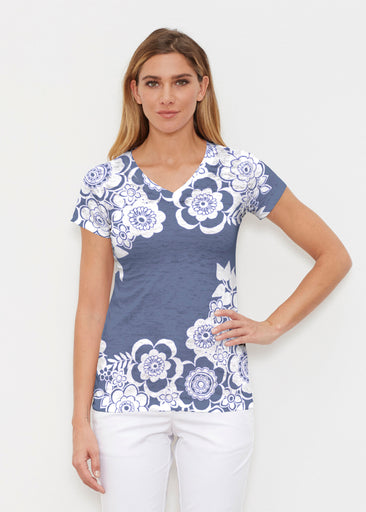 Free Floral Navy (13451) ~ Signature Cap Sleeve V-Neck Shirt