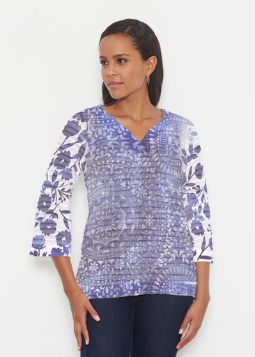 Medallion Flower (13453) ~ Banded 3/4 Bell-Sleeve V-Neck Tunic
