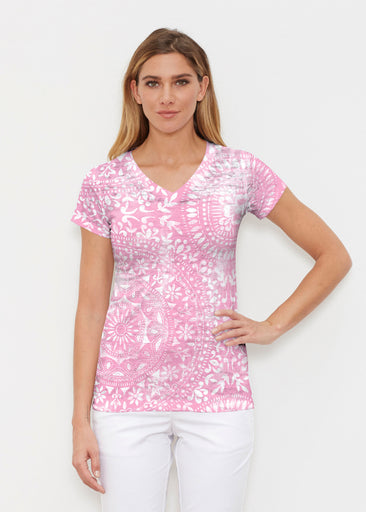 Dual Medallion Pink (13461) ~ Signature Cap Sleeve V-Neck Shirt
