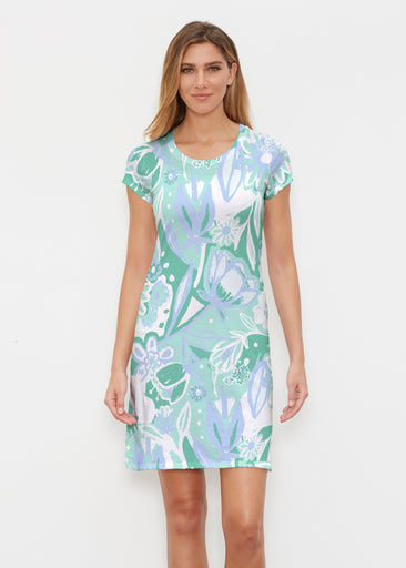 Groovy Petals Green (17068) ~ Classic Crew Dress