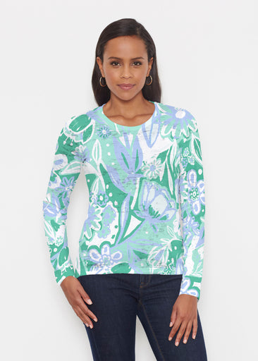 Groovy Petals Green (17068) ~ Signature Long Sleeve Crew Shirt