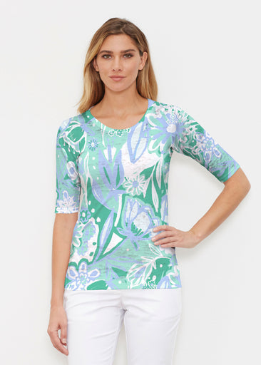Groovy Petals Green (17068) ~ Elbow Sleeve Crew Shirt