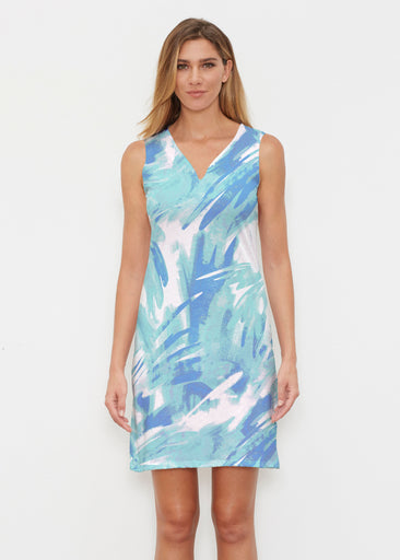 Brush Strokes Aqua (17185) ~ Classic Sleeveless Dress