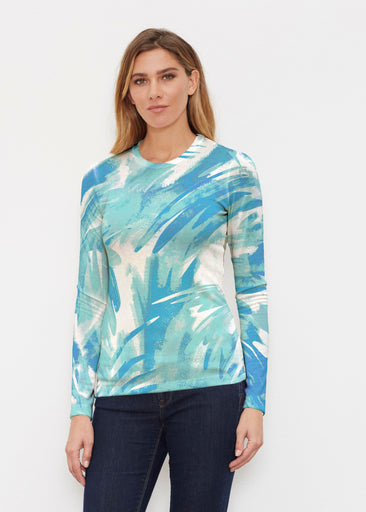 Brush Strokes Aqua (17185) ~ Butterknit Long Sleeve Crew Top