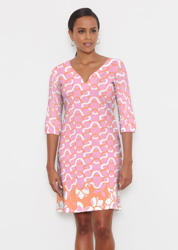 Squiggles Pink (20341) ~ Classic 3/4 Sleeve Sweet Heart V-Neck Dress