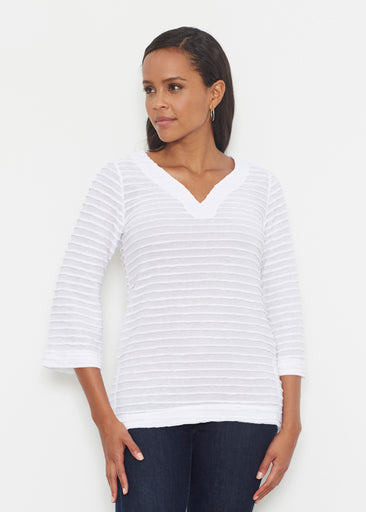 Natural White (5555) ~ Banded 3/4 Bell-Sleeve V-Neck Tunic