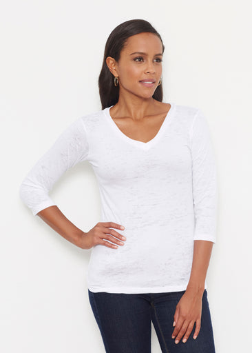Natural White (5555) ~ Signature 3/4 V-Neck Shirt