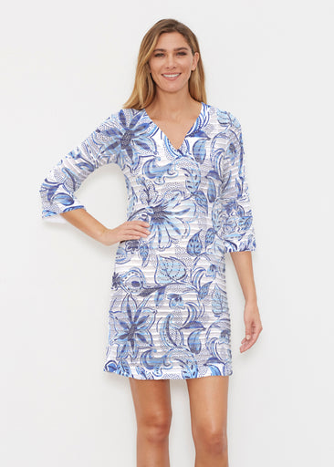 Baltic Watercolor (7677) ~ Banded 3/4 Sleeve Cover-up Dress
