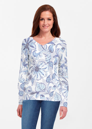 Baltic Watercolor (7677) ~ Classic V-neck Long Sleeve Top