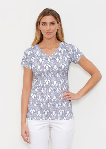 Dottie Combo Navy (7688) ~ Signature Cap Sleeve V-Neck Shirt