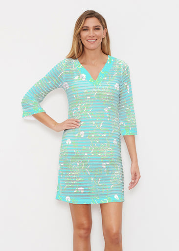 Lace Floral Aqua (7693) ~ Banded 3/4 Sleeve Cover-up Dress