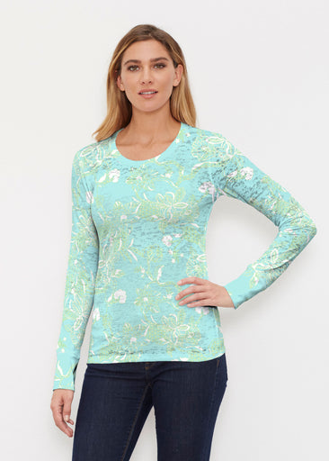 Lace Floral Aqua (7693) ~ Thermal Long Sleeve Crew Shirt