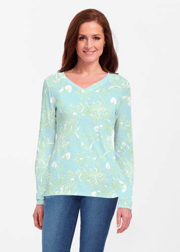 Lace Floral Aqua (7693) ~ Classic V-neck Long Sleeve Top