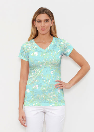 Lace Floral Aqua (7693) ~ Signature Cap Sleeve V-Neck Shirt
