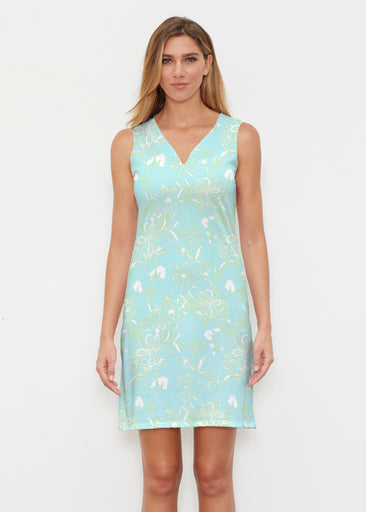 Lace Floral Aqua (7693) ~ Classic Sleeveless Dress