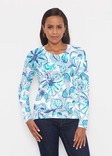 Baltic Watercolor Aqua (7696) ~ Signature Long Sleeve Crew Shirt