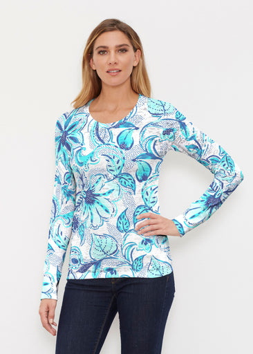 Baltic Watercolor Aqua (7696) ~ Thermal Long Sleeve Crew Shirt