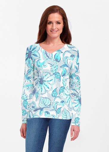 Baltic Watercolor Aqua (7696) ~ Classic V-neck Long Sleeve Top