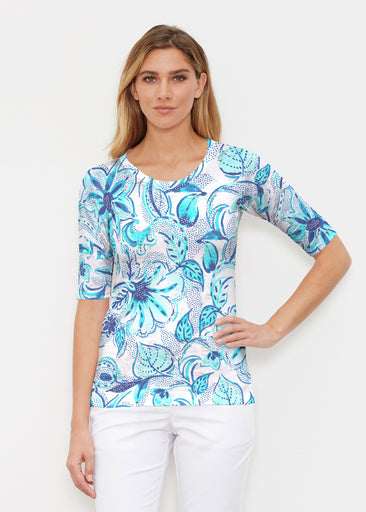 Baltic Watercolor Aqua (7696) ~ Elbow Sleeve Crew Shirt