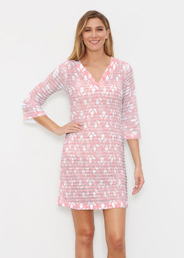 Dottie Coral (7699) ~ Banded 3/4 Sleeve Cover-up Dress