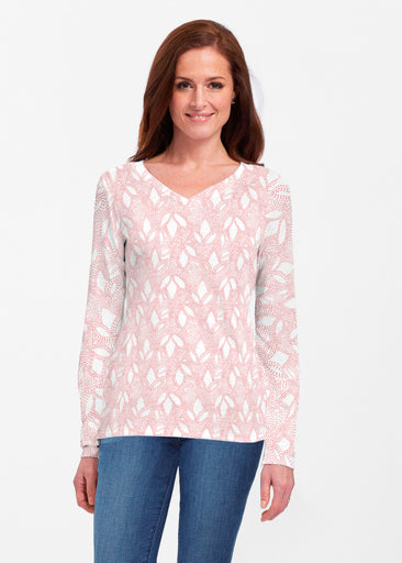 Dottie Coral (7699) ~ Classic V-neck Long Sleeve Top
