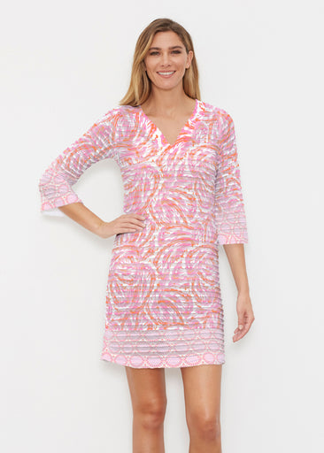Coastal Paisley Pink (7754) ~ Banded 3/4 Sleeve Cover-up Dress