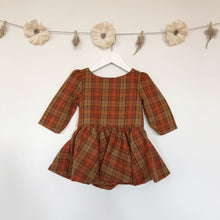 vintage rust plaid 3/4 sleeve dress - 12/18, 2t