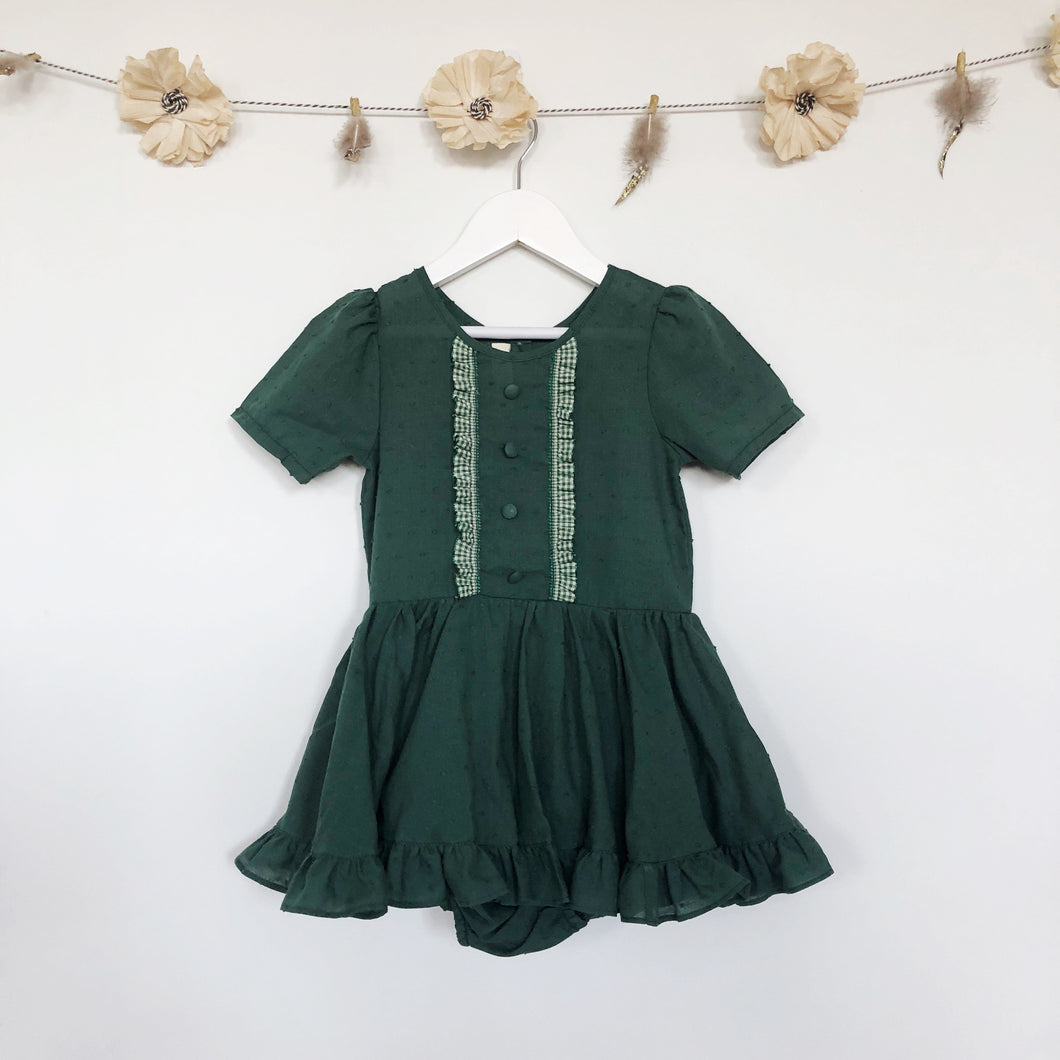 hunter green swiss dot and gingham dress