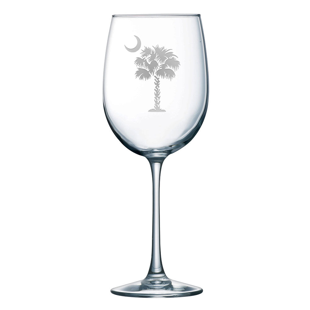 South Carolina Palmetto Tree and Crescent Moon 19 oz. Wine Glass