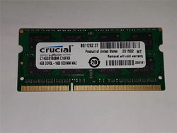 Apple Certified Crucial 4GB Kit (4GBx1) DDR3/DDR3L 1600 MT/s (PC3-12800) SODIMM 204-Pin Mac Memory CT4G3S160BM.M16FKD
