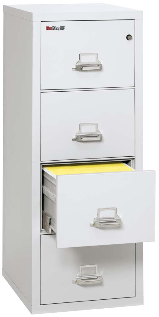 "FireKing 4-1825-C Four Drawer 25"" Deep Vertical Letter Size File Cabinet"