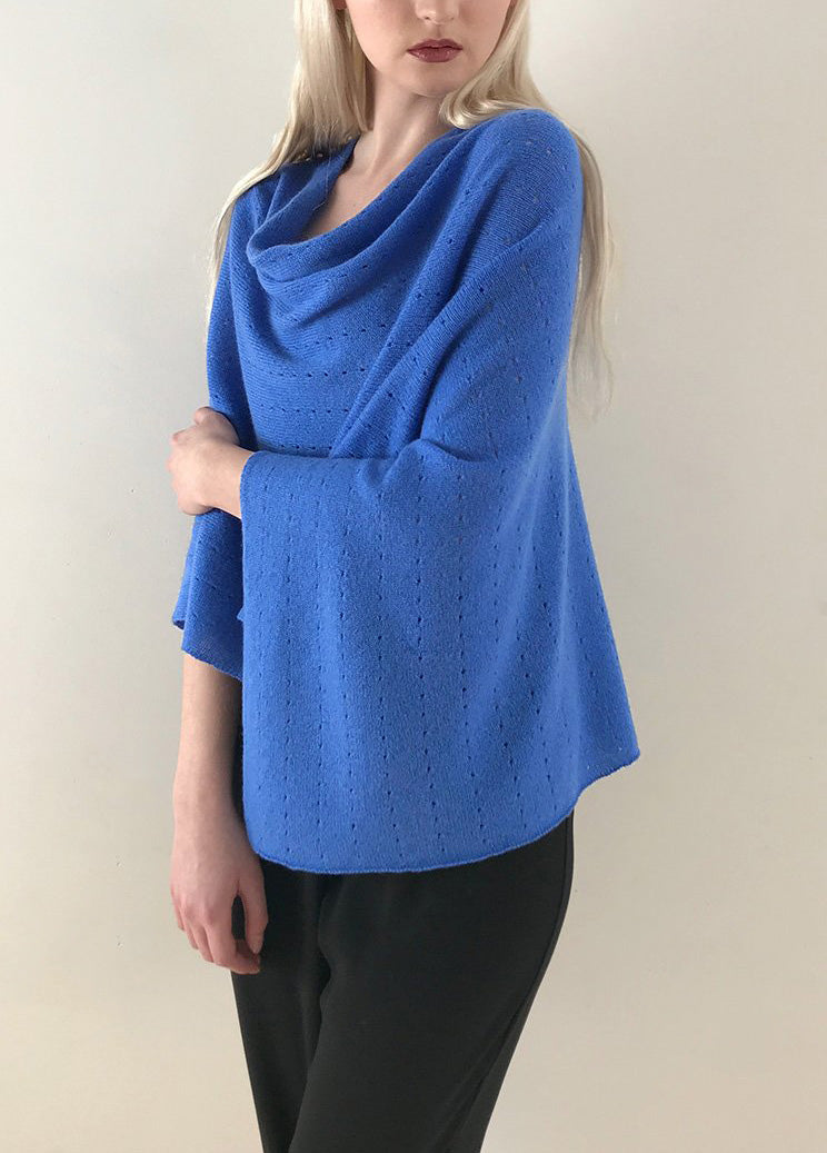 Cornflower blue Cashmere Poncho UK, Women Wrap, Cape, Shawls, Scarf, shawl, cardigan, light weight, summer poncho, ladies small button poncho sweater sale | SEMON Cashmere