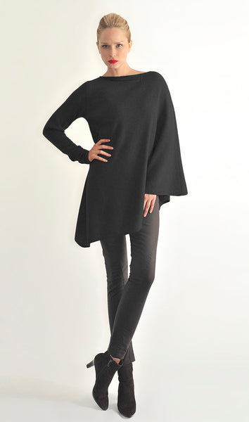 One sleeve cashmere poncho in Black