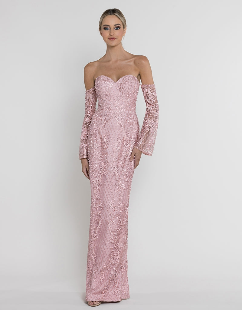 FIONA STRAPLESS BEADED GOWN  B37D26-L