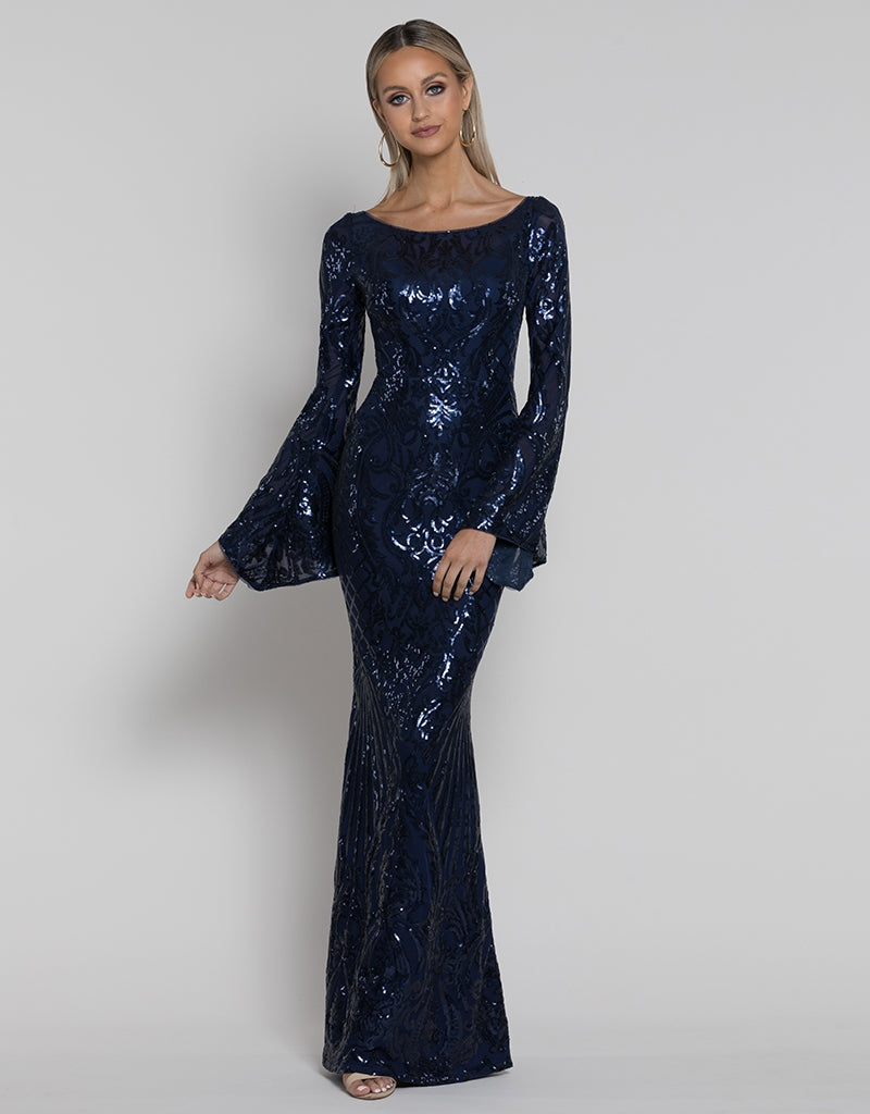 ABIGAIL BELL SLEEVE PATTERN SEQUIN GOWN B38D39-L