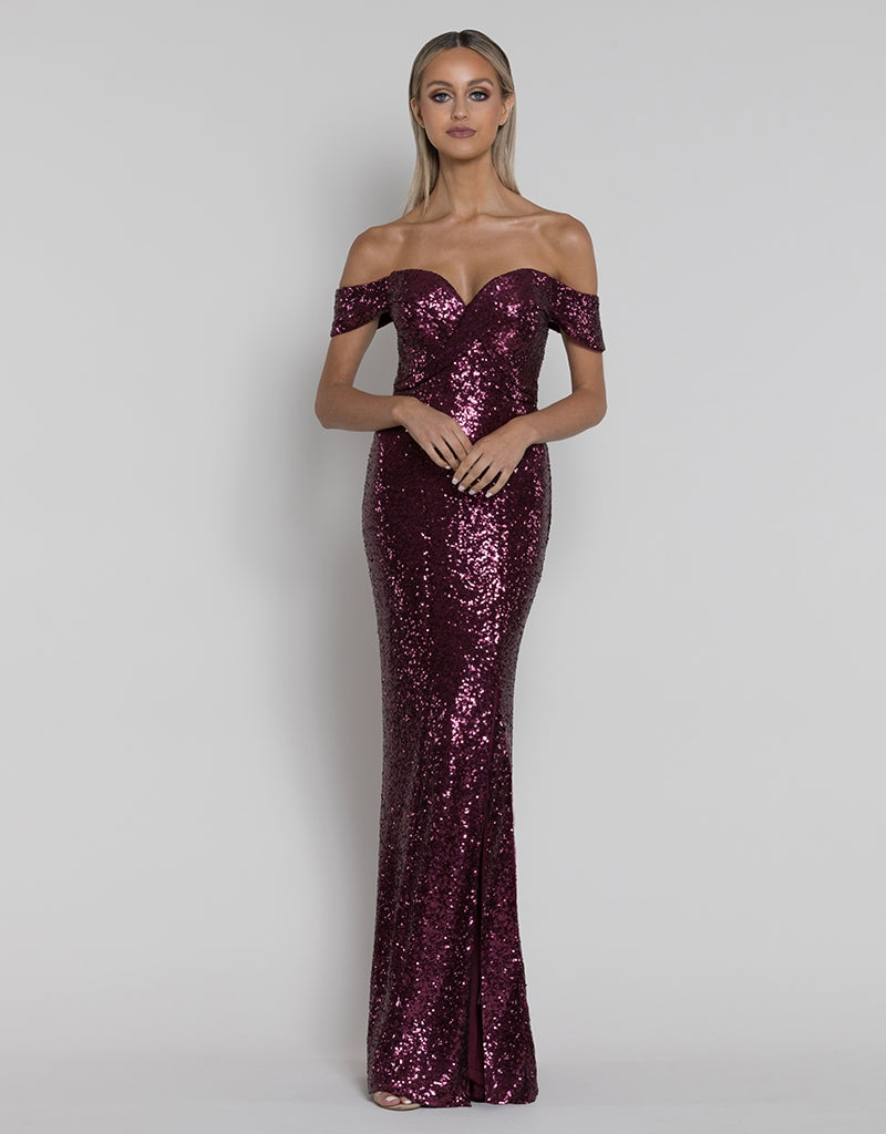 ROSIE OFF-SHOULDER SEQUIN GOWN B38D43-L