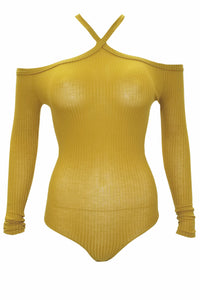 Kim Sexy Long Sleeve BodySuit (Mustard)