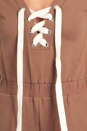 Sofia Short Sleeve Jumpsuit with Lace Up Detail (Mocha)
