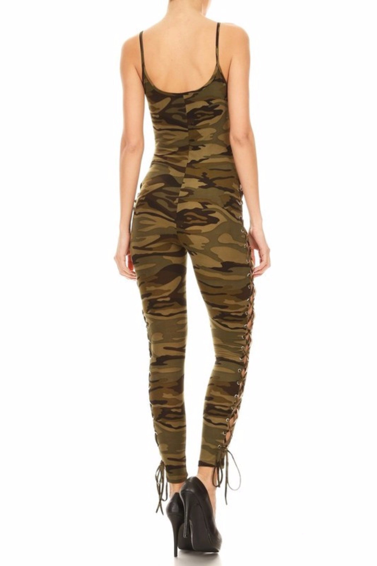 Khloe Camo Print Jumpsuit with Lace-up Detail (Camo)