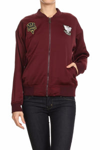 Danielle Varsity Jacket with Patches (Burgundy)