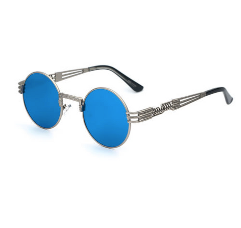 Retro Blue Mirrored Steampunk Sunglasses w/ Silver Frame