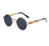 Retro Black Mirrored Steampunk Sunglasses w/ Gold Frame