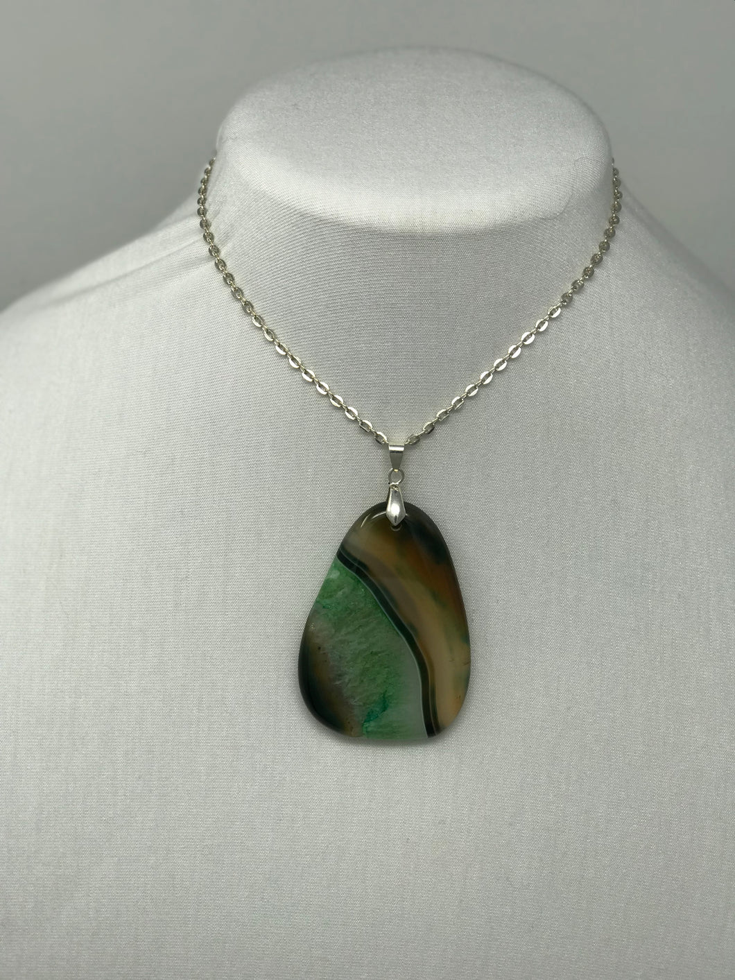 "Studio Roo's ""HEATHER"" Jasper Agate Pendant on Silver Link Chain"