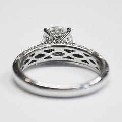 White Lace Pave Vintage Engagement Ring with Diamonds
