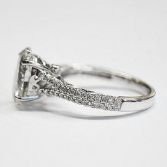 White Split Shank Pave Art Deco Ring with Oval Cut Diamond