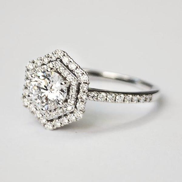 White Pave Hexagon Double Halo